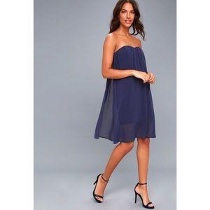 Lulu's Allure of it All Navy Blue Strapless Dress